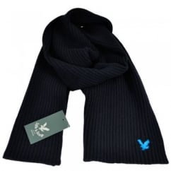 Lyle and Scott Navy with Electric Blue Eagle Ribbed Scarf