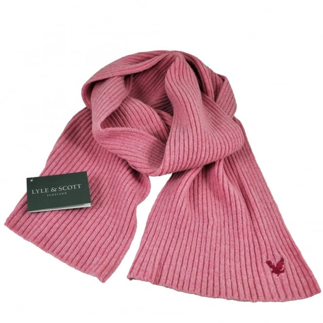 Lyle and Scott Pink with Fuchsia Eagle Ribbed Scarf