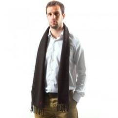 Lyle and Scott Plain Chocolate Brown Lambswool Scarf