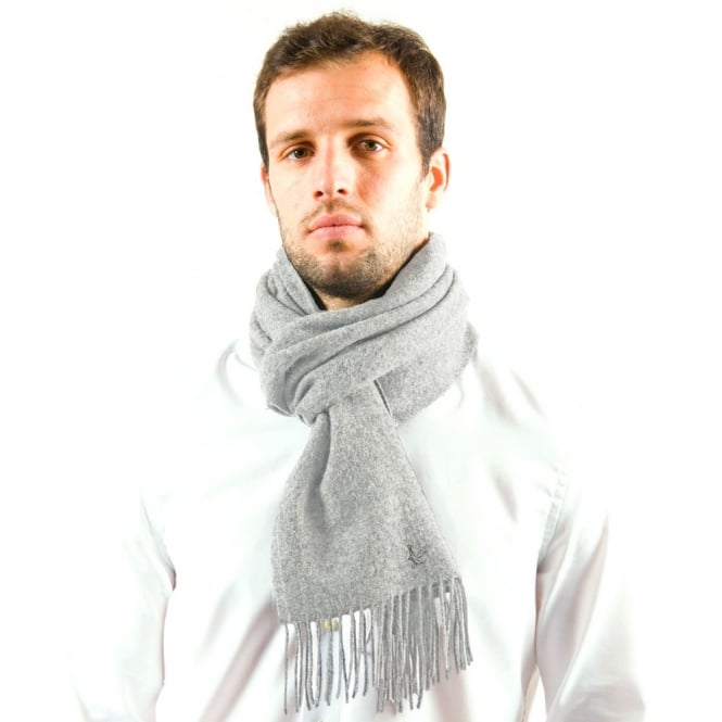 Lyle and Scott Plain Silver Lambswool Scarf
