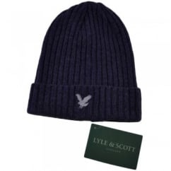 Lyle and Scott Purple Ribbed Beanie Hat