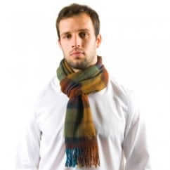 Lyle and Scott Skye Blue & Burnt Orange Check Lambswool Scarf