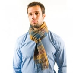 Lyle and Scott Swale Blue Check Lambswool Scarf