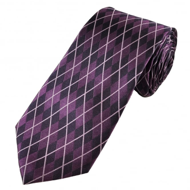 Magenta Purple Diamond Patterned Silk Tie