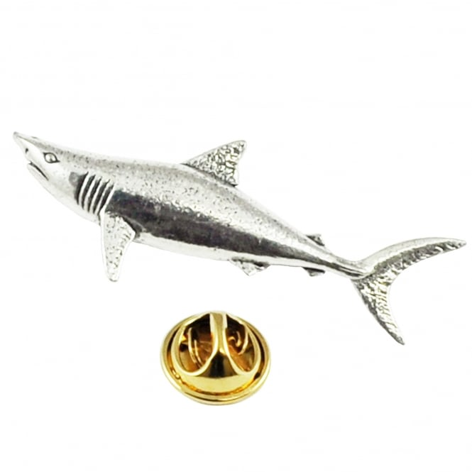 Mako Shark Pewter Lapel Pin Badge