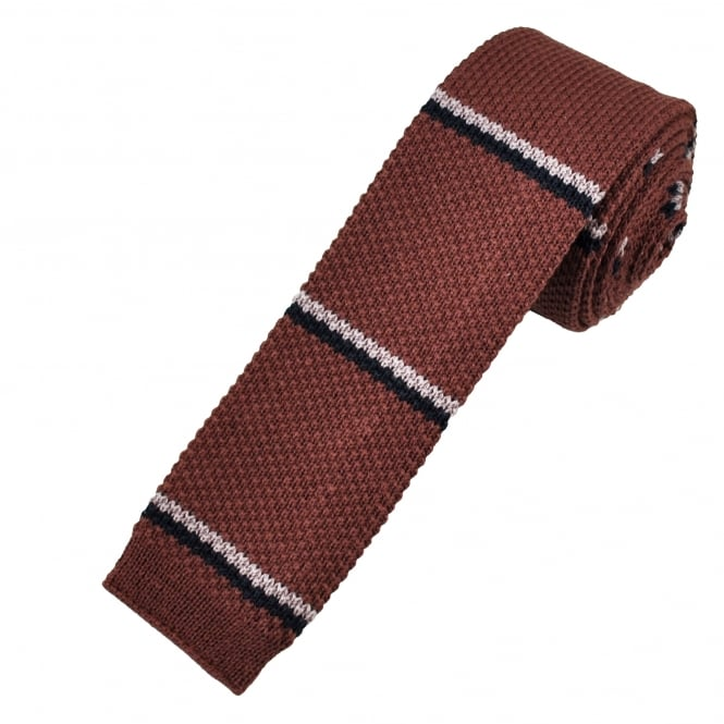 Maroon, Navy Blue & Pink Striped Knitted Tie