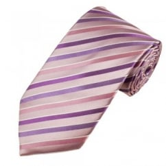Mauve, Purple, Pink & White Striped Men's Silk Tie - Gift Boxed