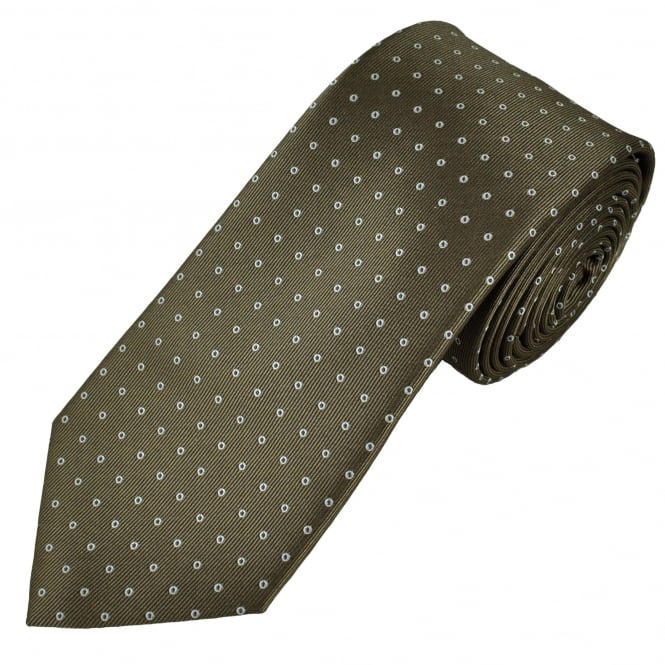 Mid Brown, White & Navy Polka Dot Men's Tie