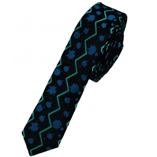 Midnight Blue Patterned Ultra Skinny Silk Tie Limited Edition By Ashley Victoria