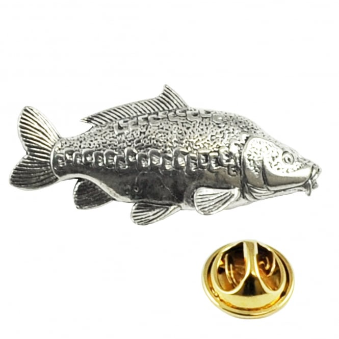 Mirror Carp Fish Pewter Lapel Pin Badge
