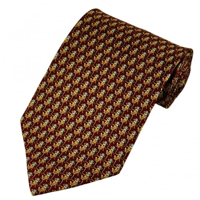 Monkeys Red Silk Novelty Tie