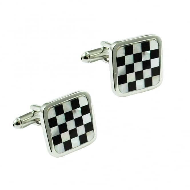 Mother of Pearl & Black Chequerboard Cufflinks