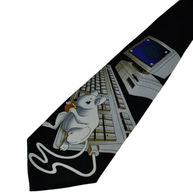 Mouse On Computer Black Novelty Tie