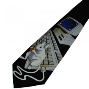 Mouse On Computer Novelty Tie