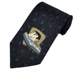 Mr Bean Reading Navy Blue Novelty Tie