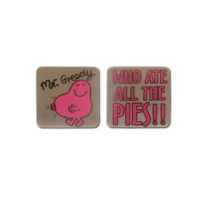 Mr Men Novelty Cufflinks - Mr Greedy 'Who Ate All The Pies'