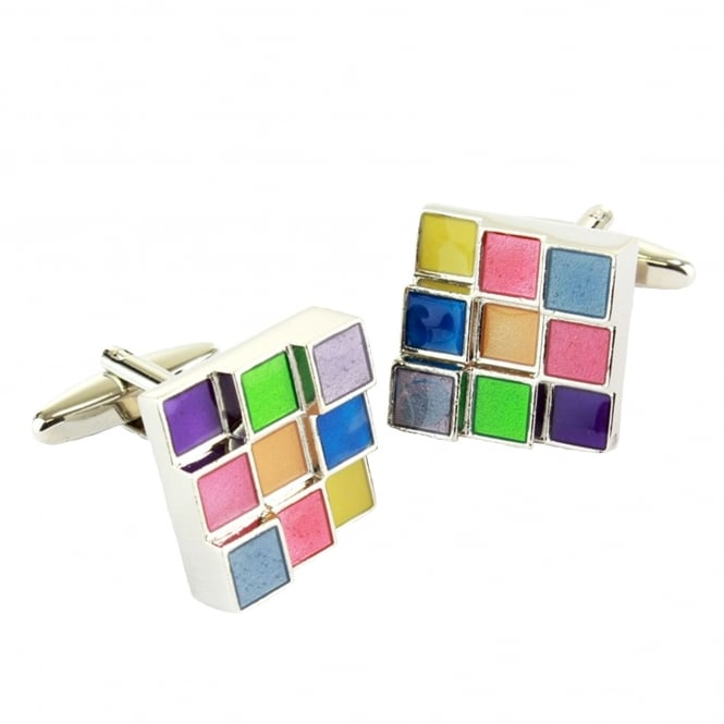 Multi Coloured Square Cufflinks