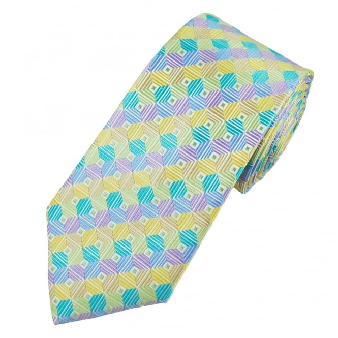 Multi Coloured Square Patterned Men's Silk Tie