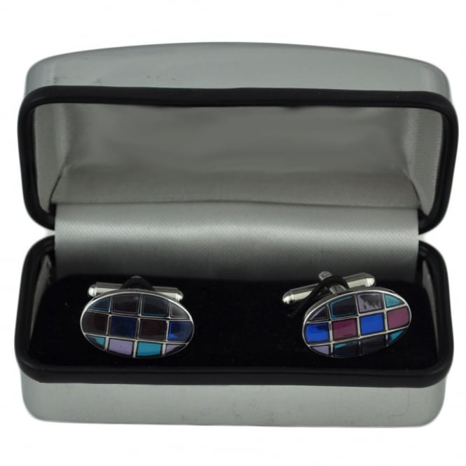 Multi-Coloured Squared Oval Fashion Cufflinks