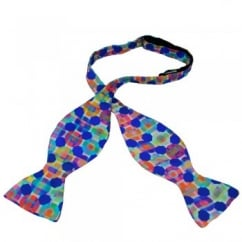 Multi Coloured Squares & Circles Self Tie Bow Tie