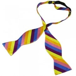 Multi Coloured Stripes Self Tie Silk Bow Tie