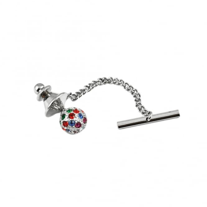 Multi Coloured Swarovski Crystal Ball Tie Pin