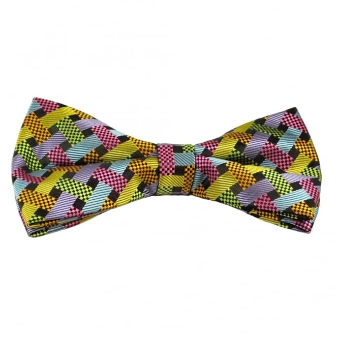 Multi Coloured Weave Patterned Bow Tie