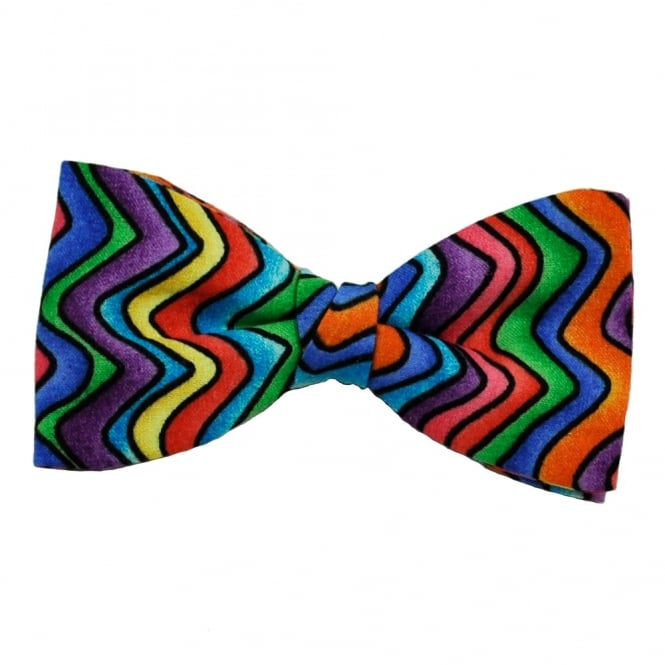 Multi Coloured Zig Zag Striped Patterned Bow Tie