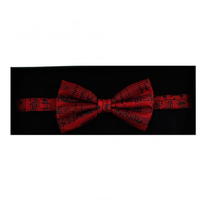 463181b365a2 Music Manuscript Red Silk Novelty Bow Tie from Ties Planet UK