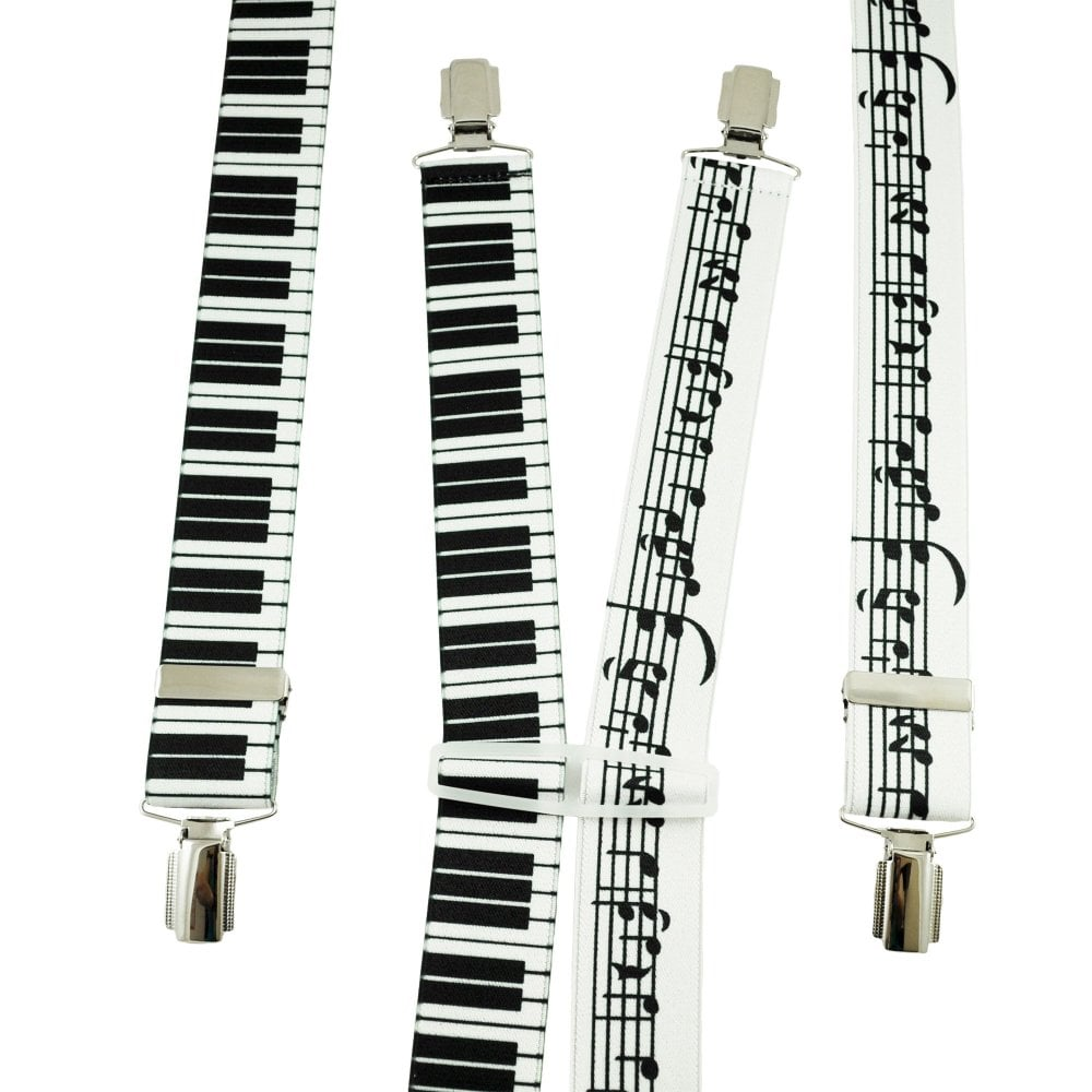 Music Notes & Piano Keyboard Men's Trouser Braces