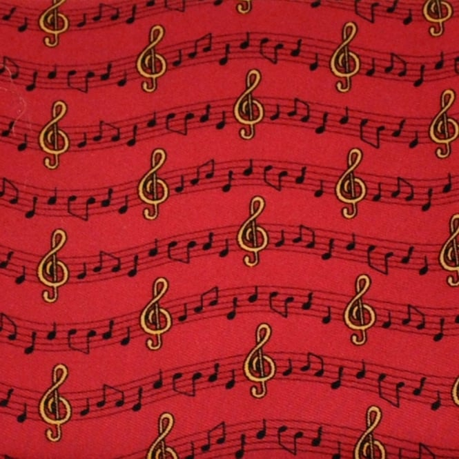Music Notes & Symbols Red Novelty Pocket Square Handkerchief