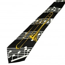Music Notes & Trombone Novelty Tie