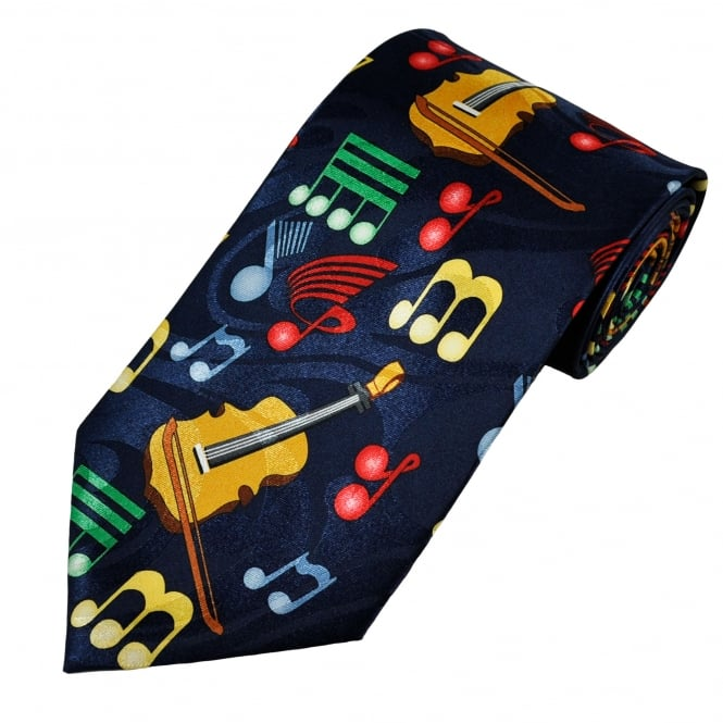 Music Notes & Violins Novelty Tie
