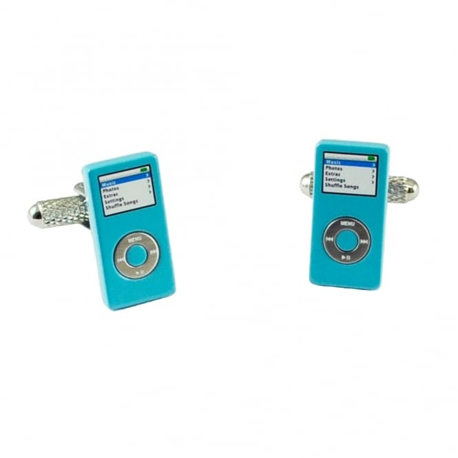 music player novelty cufflinks  blue
