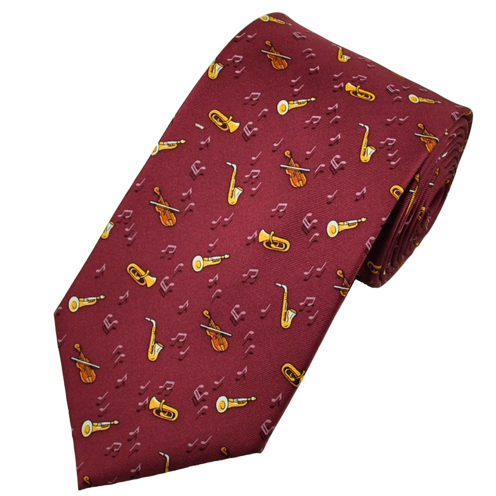 musical instruments maroon silk novelty tie from ties
