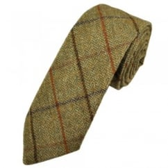 Mustard & Green Large Checked Herringbone Tweed Wool Tie