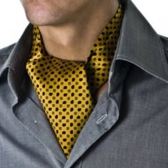 Mustard Yellow Patterned Casual Cravat