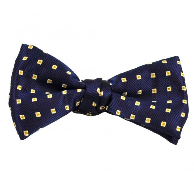 Navy, Beige & Gold Square Patterned Silk Bow Tie