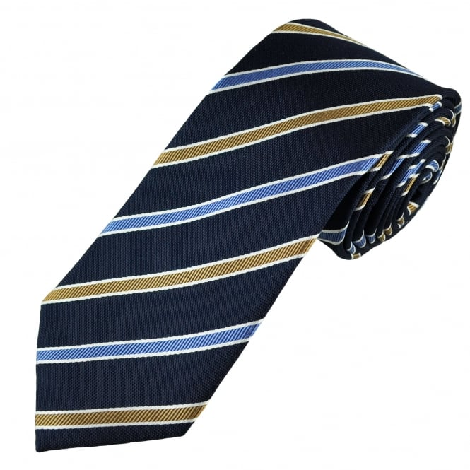 Navy, Beige, Light Blue & Silver Striped Luxury Silk Men's Tie