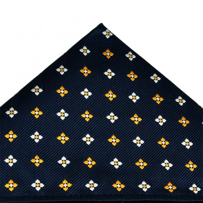 Navy Blue, Amber & Silver Floral Patterned Silk Pocket Square Handkerchief