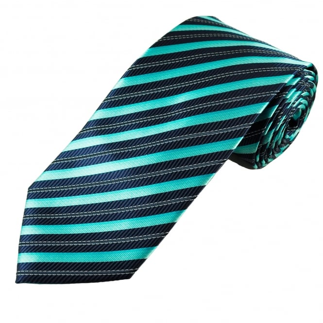 Navy Blue, Aqua & Silver-White striped Patterned Men's Tie