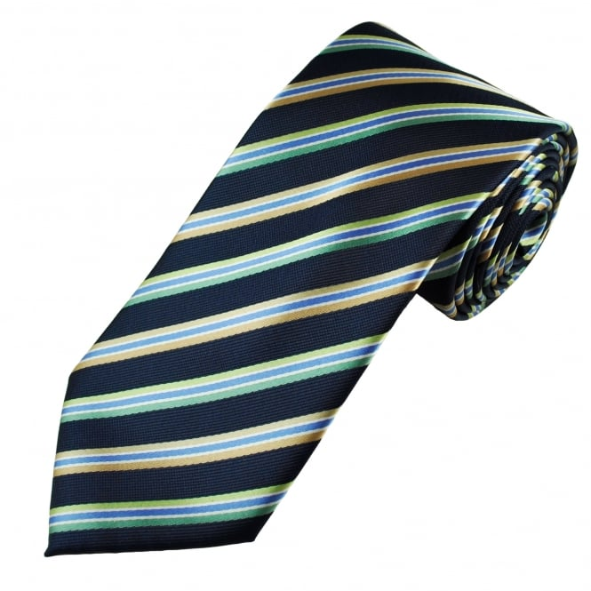 Navy, Blue, Beige, Lime & Leaf Green Striped Men's Tie