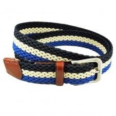8f812d1209991 Navy Blue, Beige & Royal Blue Striped Woven Elastic Belt Size 35