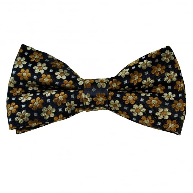 Navy Blue, Beige & Silver Flower Patterned Men's Bow Tie