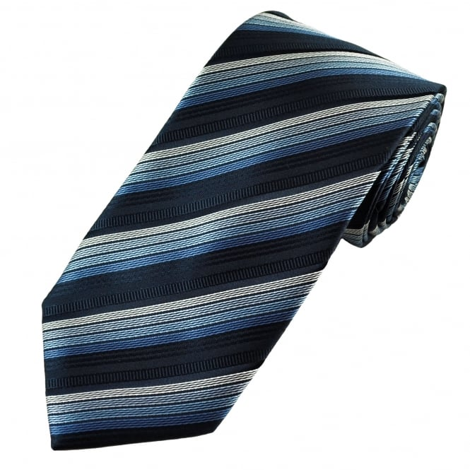 Navy Blue, Blue & Silver Striped Patterned Men's tie