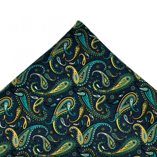 Navy Blue, Blue, White & Yellow Paisley Silk Handkerchief