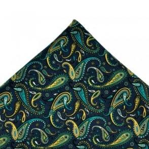 Navy Blue, Blue, White & Yellow Paisley Silk Handkerchief