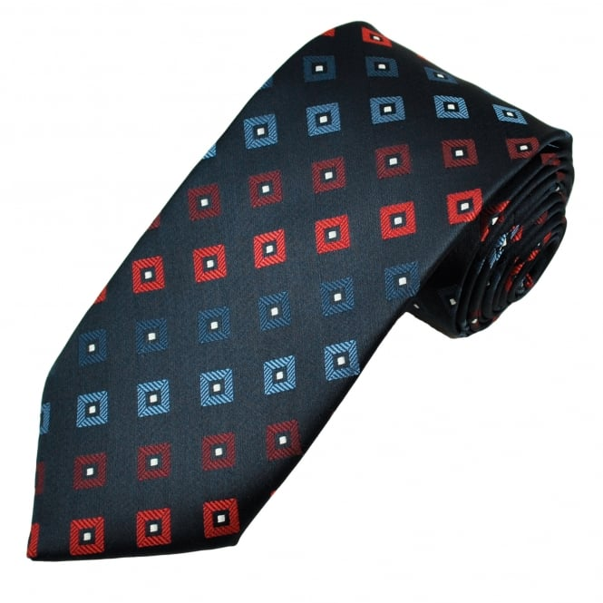 Navy Blue, Blue, Wine Red & Red Square Patterned Men's Tie