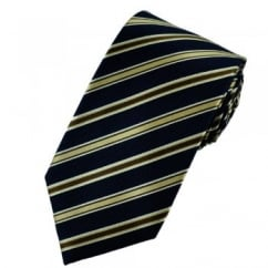 Navy Blue, Brown Gold & Silver White Diagonal Striped Silk Tie