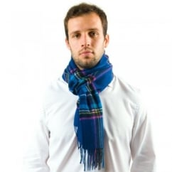 Navy Blue Checked 100% Wool Scarf